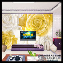 11款 客厅3D玫瑰花纹电视背景墙图片设计PSD下载
