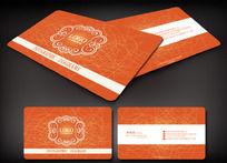 橙色花纹名片背景
