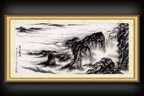 仙境云海山峦国画装饰图