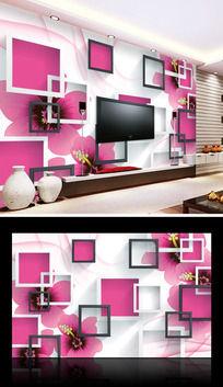 粉色花朵立体框框电视背景墙