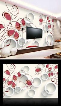 素雅花纹3D电视背景墙
