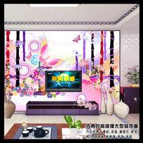 时尚流行大气绚丽韩国风格客厅电视背景墙
