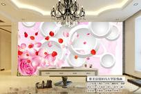 客厅3D玫瑰电视背景墙图片