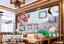 客厅3D梅花国画电视背景墙图片