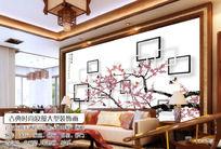 梦幻江南水乡3D门窗唐韵桃花电视背景墙