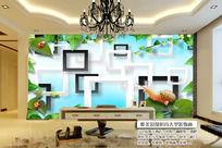 3D立体清新绿色客厅背景墙图片