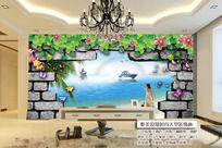 3d窗户风景大海木桥电视背景墙