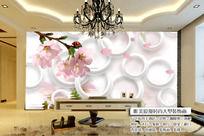 现代唯美花朵3D立体电视背景墙