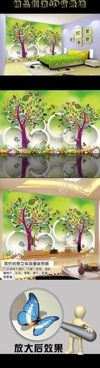 绿色森林3D立体背景墙