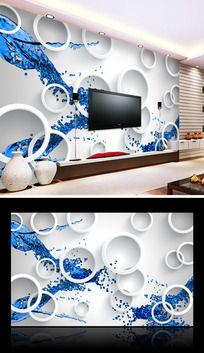 水之源3D电视背景墙