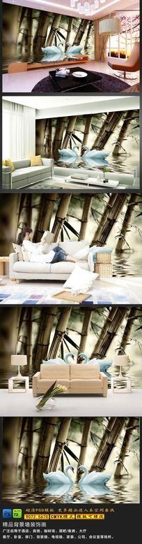 12款 竹林中沙发背景墙