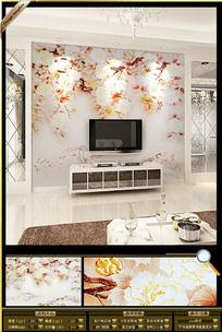 3D时尚彩雕牡丹花电视墙背景装饰画