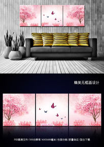 粉红色浪漫樱花室内客厅三联无框画设计