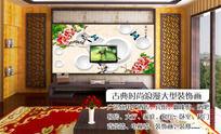 花开富贵牡丹3D软包立体电视背景墙