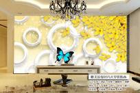 黄花3D立体蝴蝶菱形电视背景墙