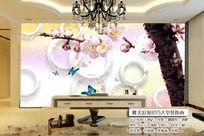 梅花3D立体唯美圆圈电视背景墙装饰画