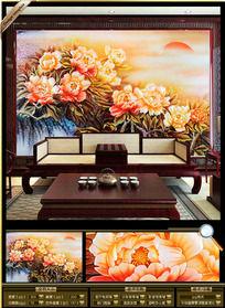 3D彩雕大牡丹花电视墙背景装饰画