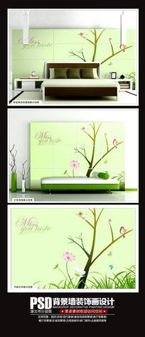 素雅清新卧室背景墙设计素材