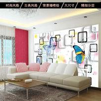 时尚3D立体客厅电视背景墙花纹