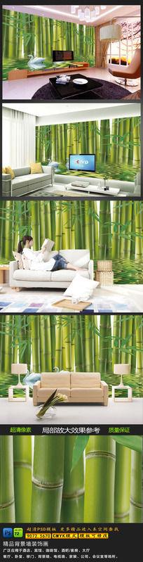 竹林场景竹子森林树电视沙发客厅瓷砖背景墙