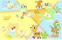 11款 可爱卡通动物印花图案素材PSD下载