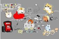 卡通动物乐园印花图案