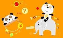 卡通熊猫印花图案 CDR