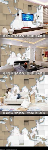 个性世界地图3D电视背景墙设计