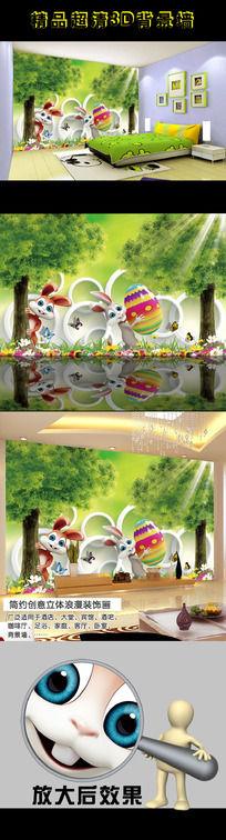 卡通兔子3D立体背景墙