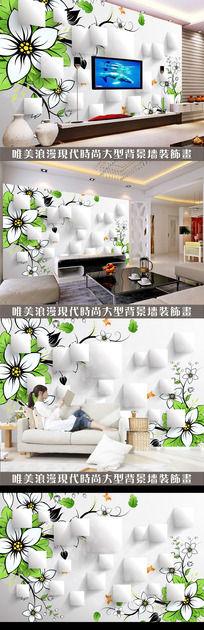 绿色抽象花朵3D电视背景墙设计