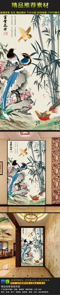 竹林意境国画花鸟玄关过道背景墙装饰画