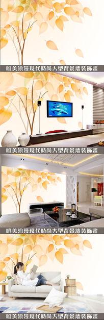 橙色大树电视背景墙设计