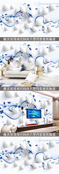 个性蓝色底纹3D电视背景墙设计