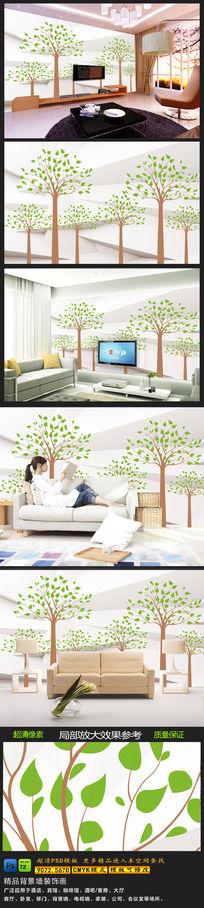 客厅大树森林白色背景墙