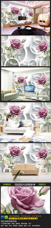 手绘玫瑰花3d电视背景墙