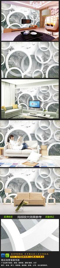 现代简约创意3D电视背景墙