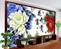 背景墙/花开富贵中式电视背景墙设计