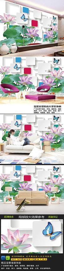 10款 牡丹花客厅电视墙背景