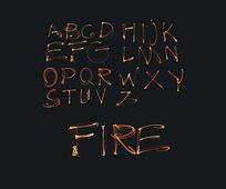 24个火焰英文字母设计 PSD