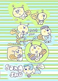 卡通松鼠形象插画 PSD