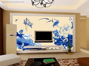 青花瓷中国风电视背景墙PSD高清图片