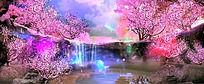 蝴蝶樱花桃花小溪动态视频素材 mov