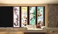 中国风水墨画移门模板
