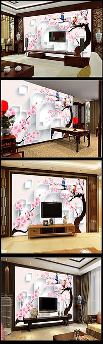 桃花3D方块背景墙