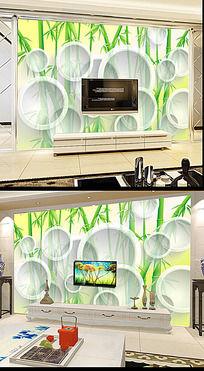 3D圆圈绿色竹林背景墙