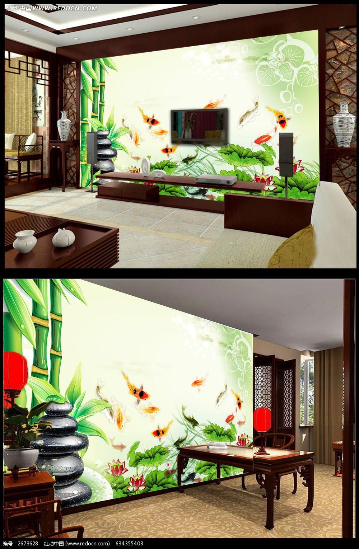 欧式花朵电视背景墙设计