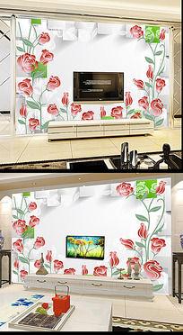 手绘花朵3D立体方块背景墙