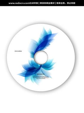 蓝色花纹dvd光盘封面模板 PSD