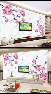 梦幻花朵3D电视背景墙装饰画模板