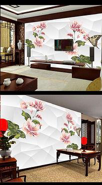 手绘花朵立体背景蝴蝶背景墙